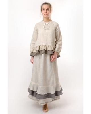 Юбка льняная женская #022