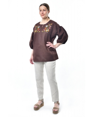 Туника льняная женская #004 коричневая