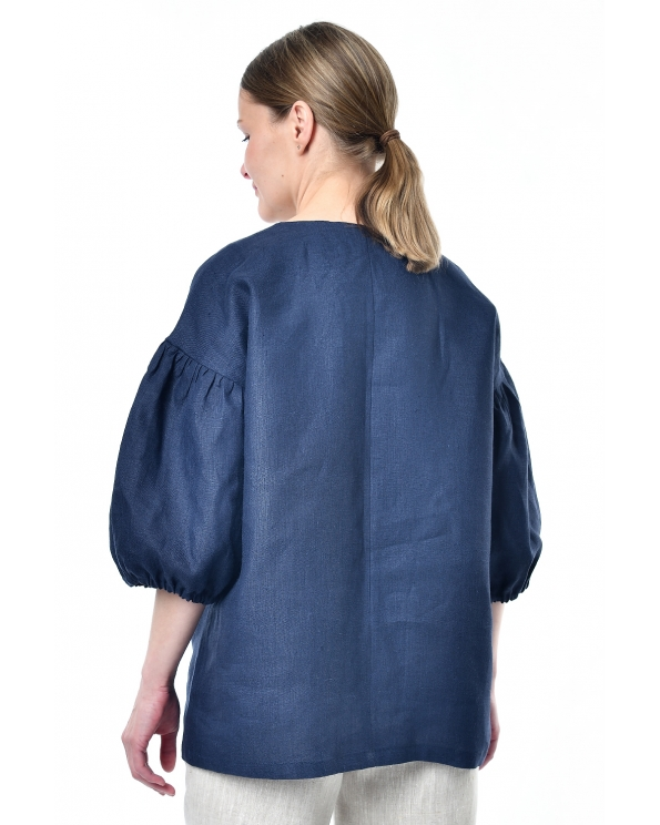 Туника льняная женская #004 тёмно-синяя