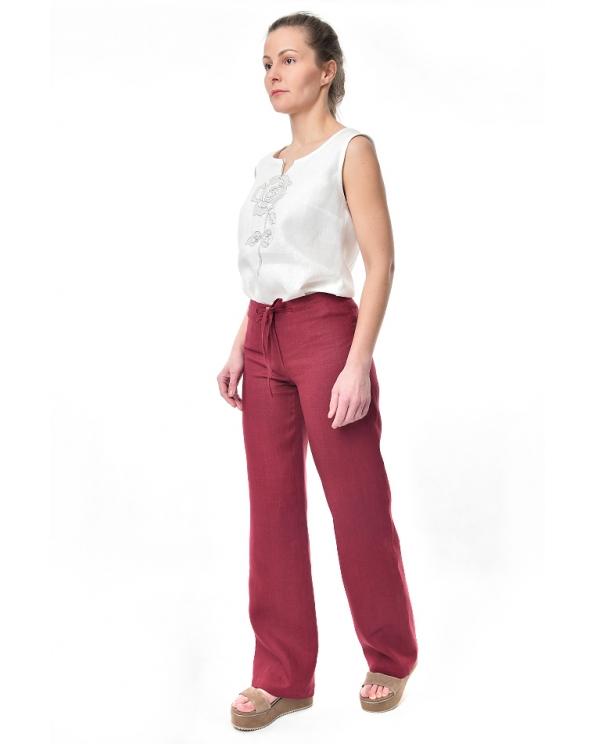 Брюки льняные женские #001 с задними карманами