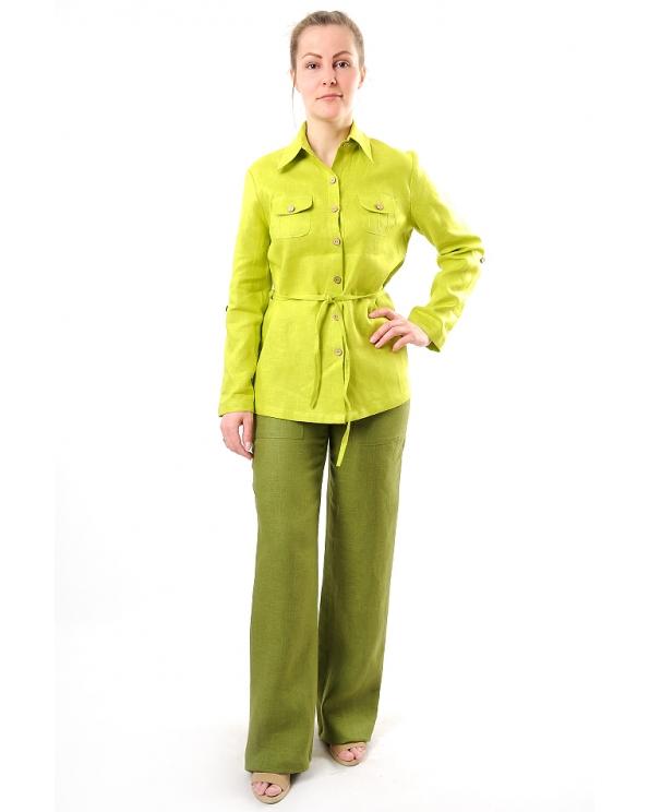 Брюки льняные женские #002 с передними карманами