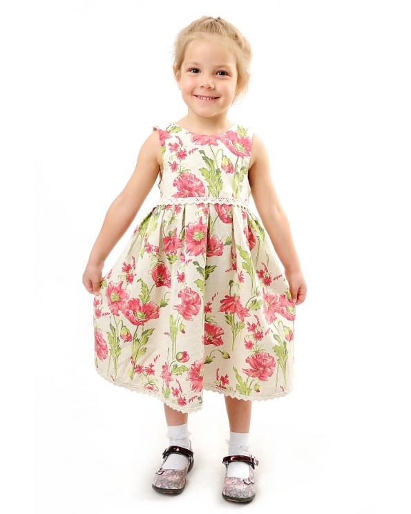 Платье льняное для девочки #003