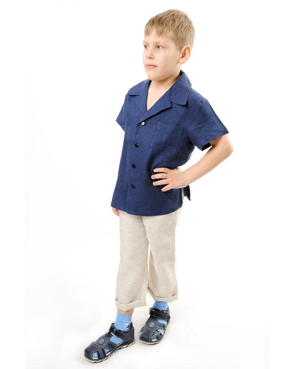 Рубашка льняная для мальчика #001