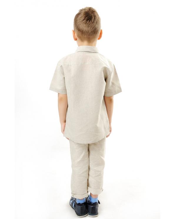 Рубашка льняная для мальчика #002