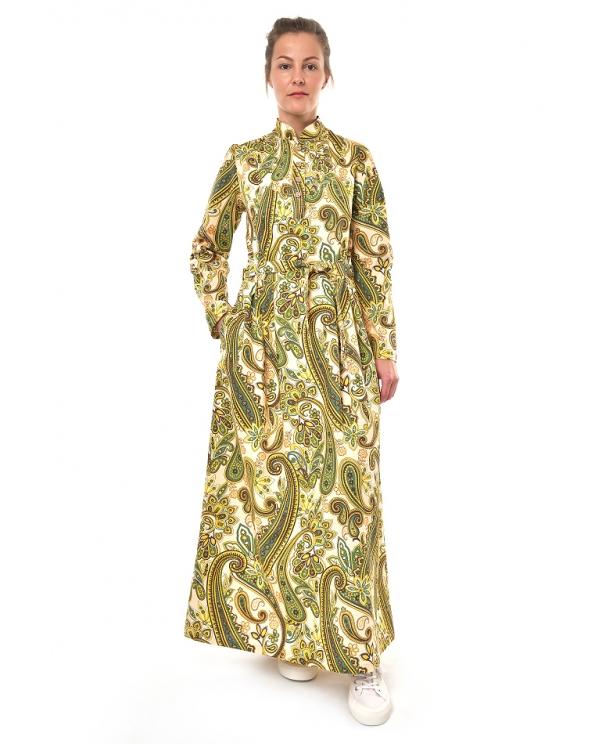 """Платье льняное женское #025 """"Огурцы"""" цвет зеленый"""