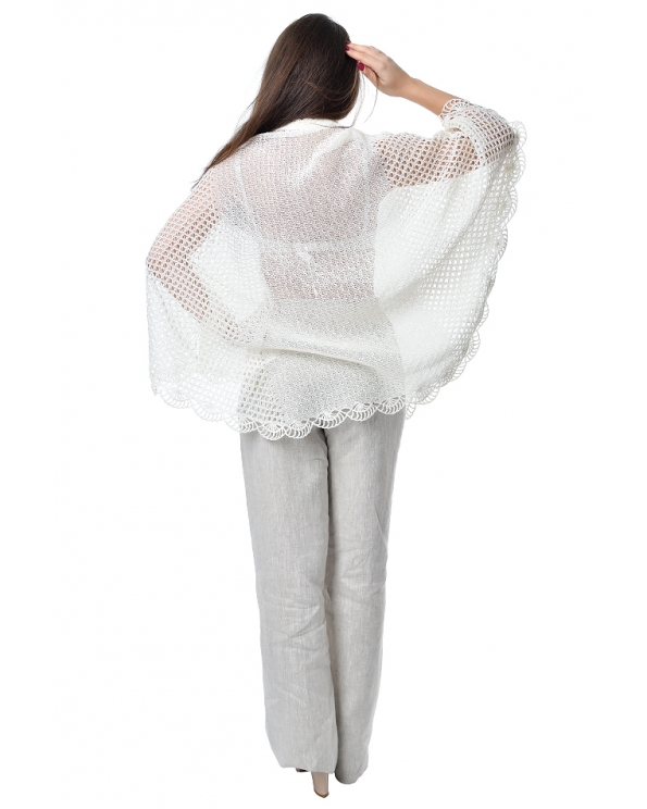 Накидка льняная женская вязаная Пончо  М- 118б-01