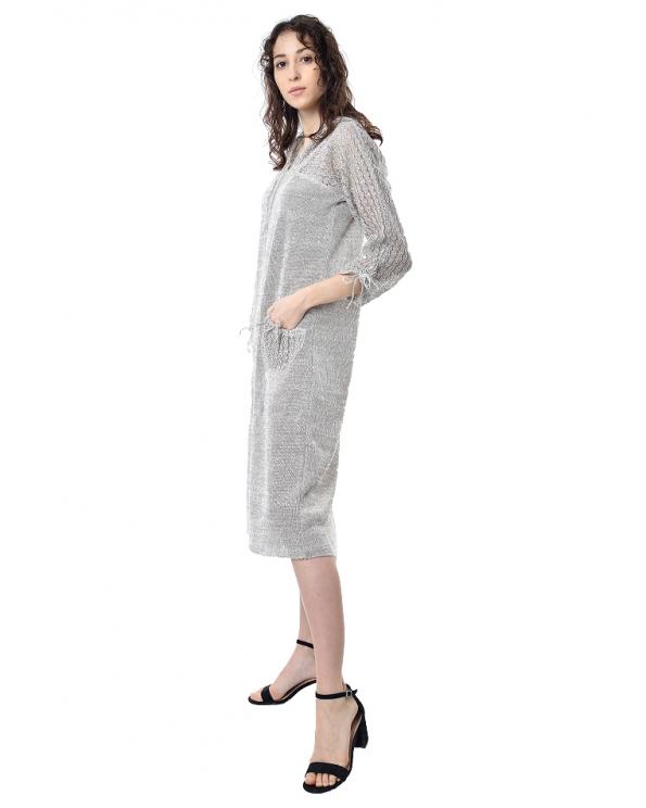 Платье льняное вязаное 23-03
