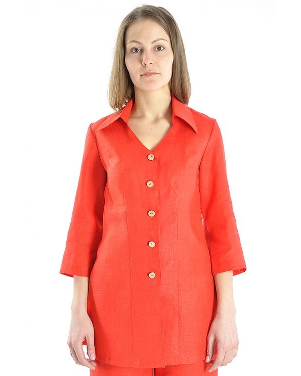 Блузка женская из льна #014 длинная