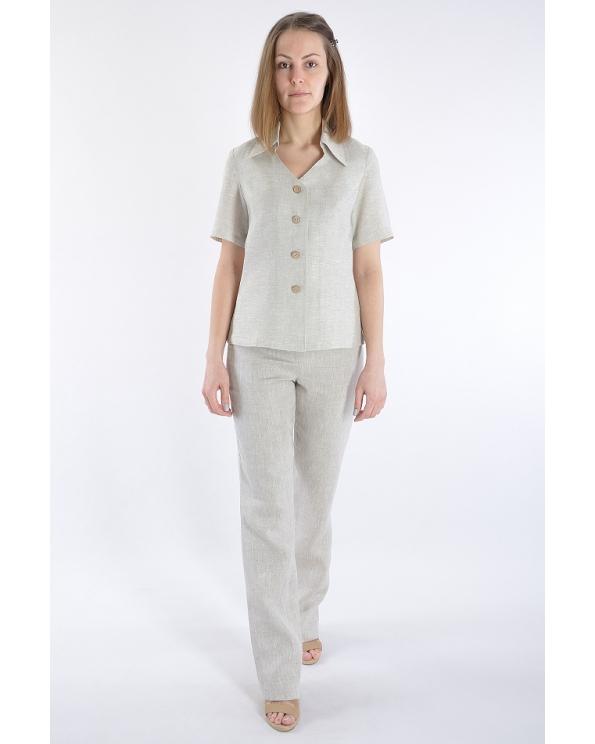 Блузка женская из льна #014 короткая