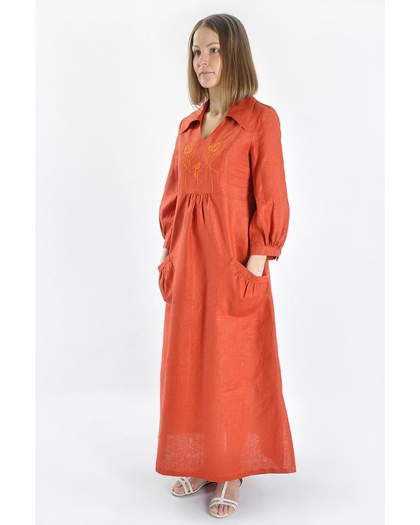 Платье льняное женское #003