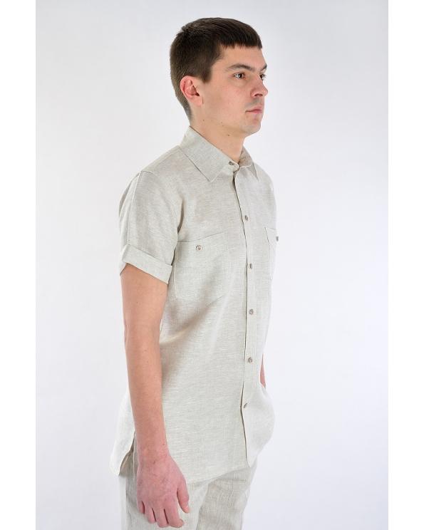 Рубашка льняная мужская #17-09