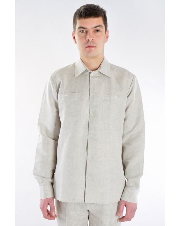 Рубашка льняная мужская классическая с длинным рукавом