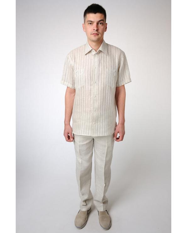 Рубашка льняная мужская #17-11