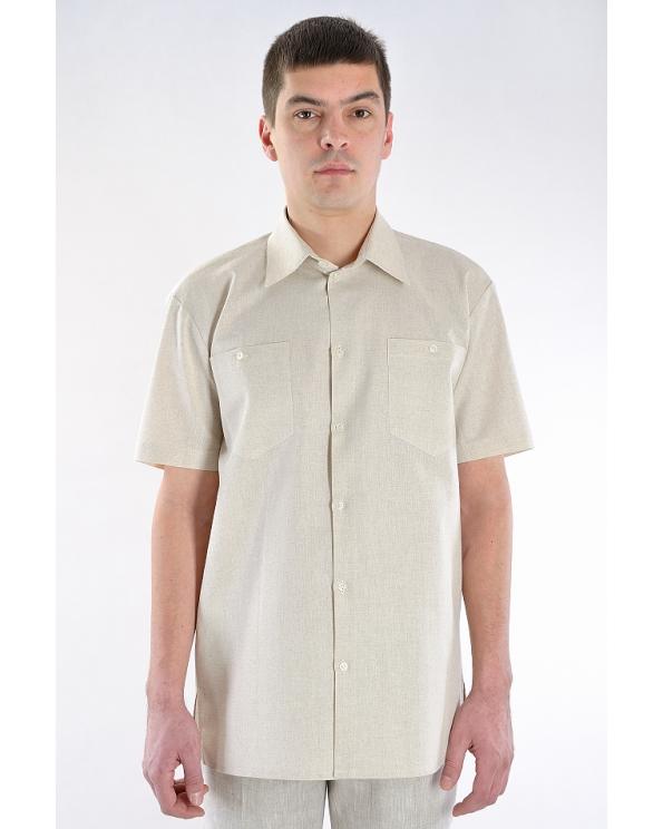 Рубашка льняная мужская классическая с коротким рукавом