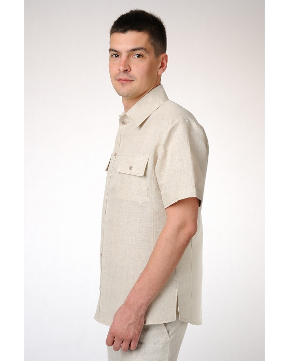 Рубашка льняная мужская приталенная с коротким рукавом