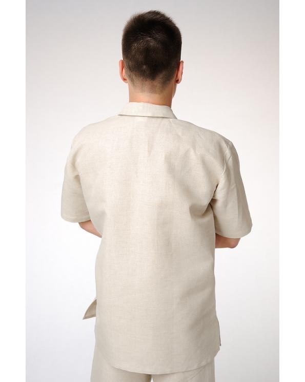 """Рубашка льняная мужская с застежкой """"поло"""""""