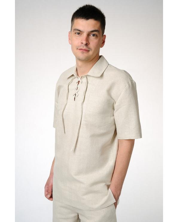 Рубашка льняная мужская с завязками