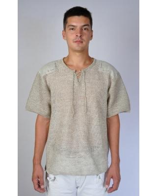 """Рубашка мужская льняная вязаная """"Кольчуга"""""""